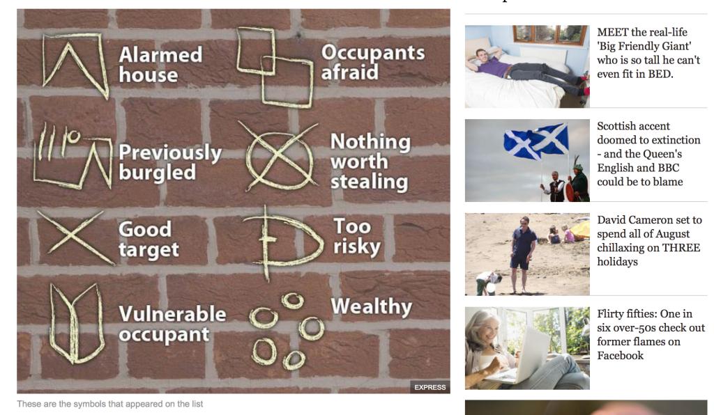 tajemnicze znaki na płocie, drzwiach, murze